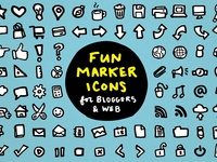 Fun Marker Icons for Bloggers & Web Design