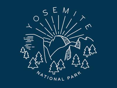 Yosemite National Park trees mountains half dome nature outline logo button t-shirt national park yosemite