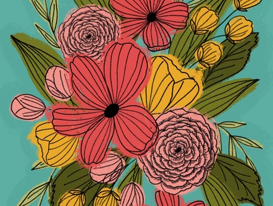 Bright Florals design flowers floral texture illustration