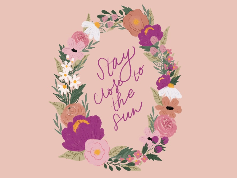 Stay close to the sun floral wreath daisy peony wreath design flowers watercolor floral handlettering illlustration