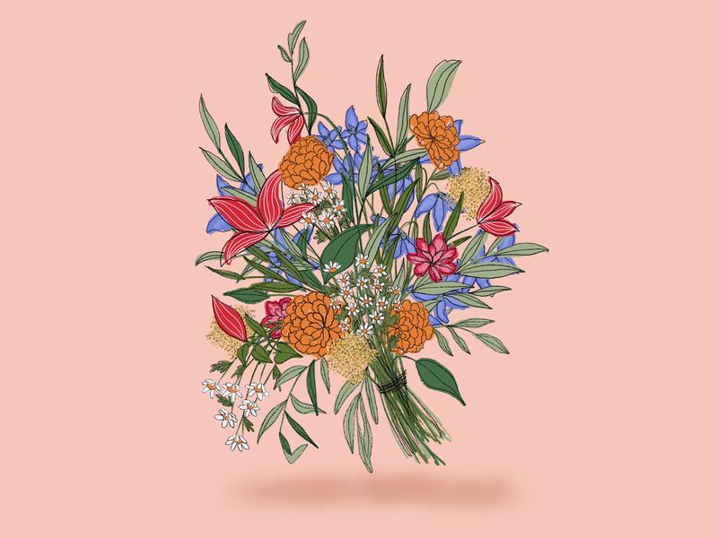 Merigold daisy merigold texture illustration floral