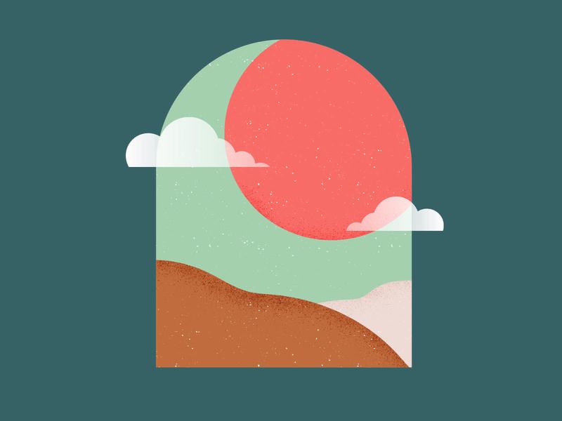 Sweet Victory landscape orange texture illustration