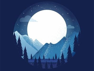 Nighttime Landscape texture trees moon landscape mountains