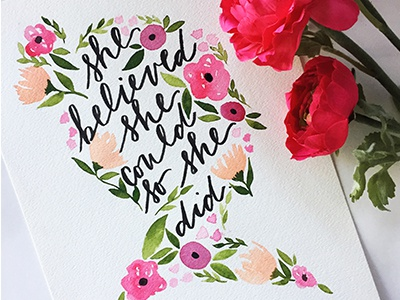 Floral Silhouette girl boxx brush lettering watercolor lettering floral