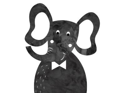 Elephant watercolor texture bow tie illustration elephant