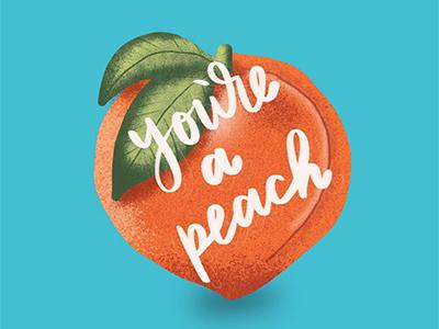 Peach blue illustration hand lettering peach