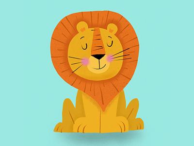 Lion blue yellow illustration texture lion
