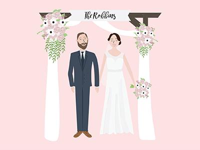 The Robbins couple people illustration flowers briday wedding