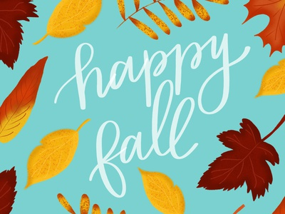 Happy Fall texture ipad lettering hand lettering fall leaves