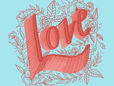 A little love red blue valentines day floral love ipad pro ipad lettering lettering