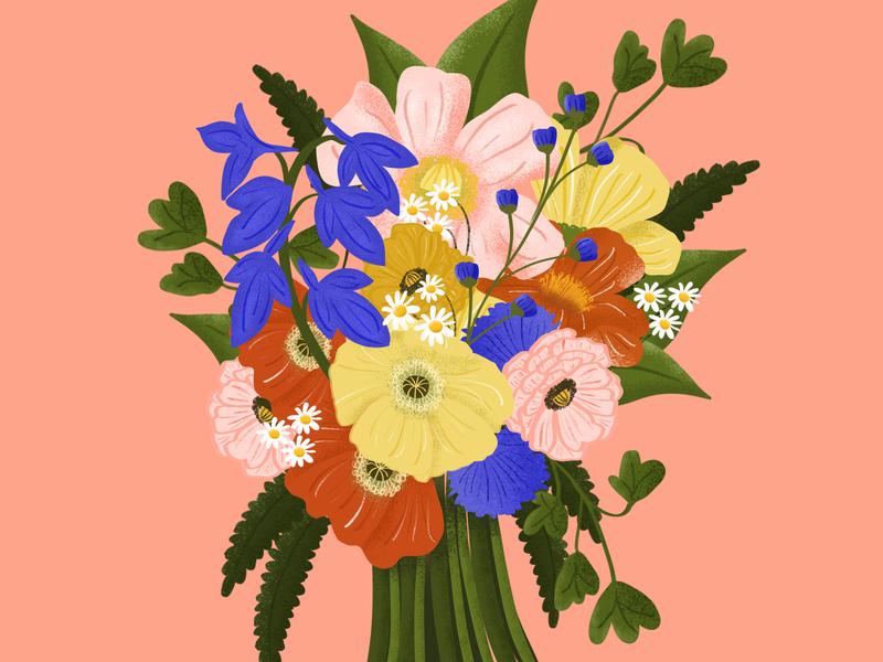 Spring Bouquet texture greenery poppy zinnia bouquet flower illustration flowers