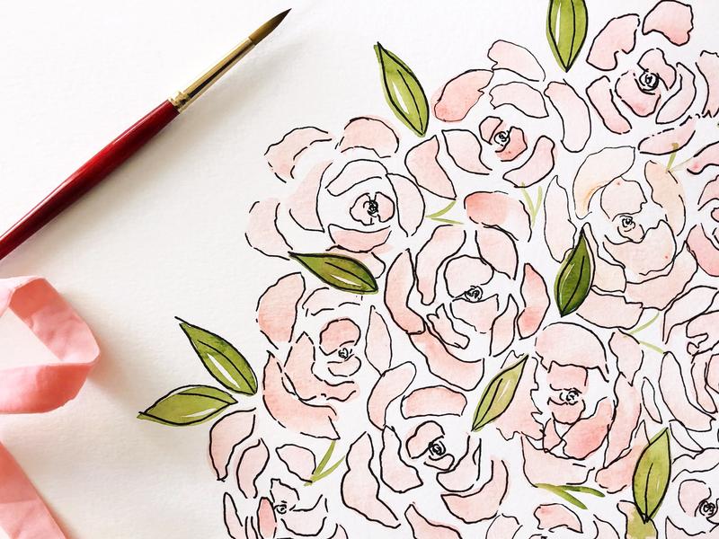 Watercolor Floral Pattern painting leaves flowers floral watercolor