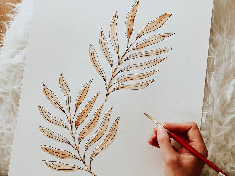 Watercolor Leaves tan brown pen drawing pen leaves watercolor