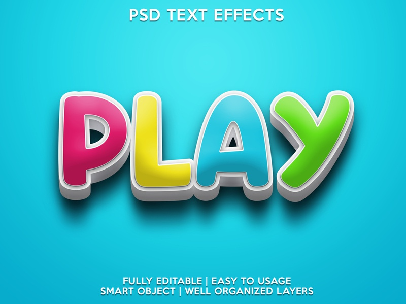 Play child playing play kids psd text effects font effects editable text style text text effects editable text