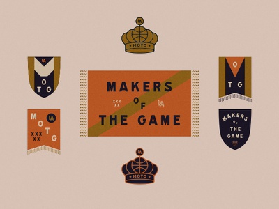 Makers crownm banner basketball illustration branding