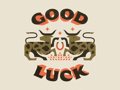 Good Luck typogaphy horseshoe longhorns illustration