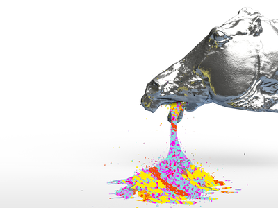 Horse Parallax Q8c rainbow horse metal hdri render blackink generative parallax