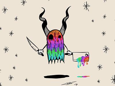 Monster Wip knives ghost rainbow monster illustration