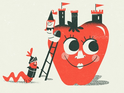 Castle Apple illustration apple castle worm