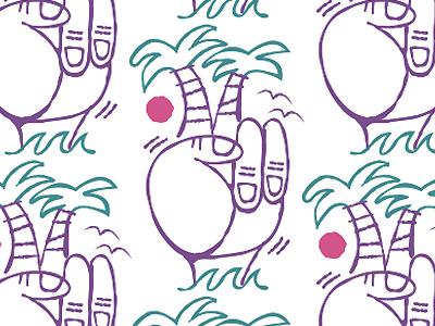 Palm peace illustration pattern surfs up peace hand