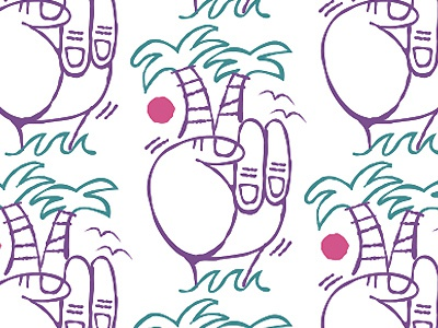 Palm peace illustration pattern surfs up peace hand