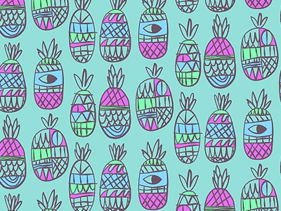 A whole lot of pineapples illustration pattern surf pineapple blue shorts apparel