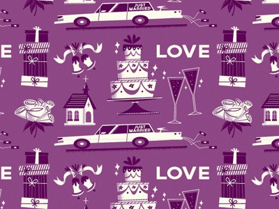 Wedding Pattern illustration pattern wedding nuptials purple