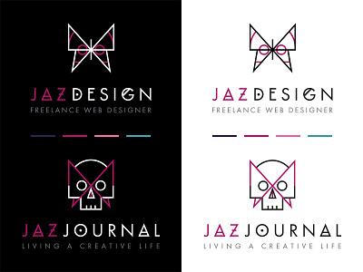 Branding for Jaz Design & Jaz Journal pink white black goth skull butterfly logo brand branding