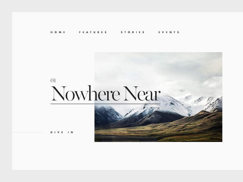 Nowhere Near editorial minimal clean munich typography type ui snow mountain