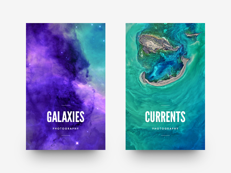Nature Cards card cards minimal clean munich typography type ui ocean galaxy