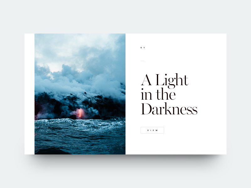 A Light in the Darkness lava water sea minimal clean munich typography type
