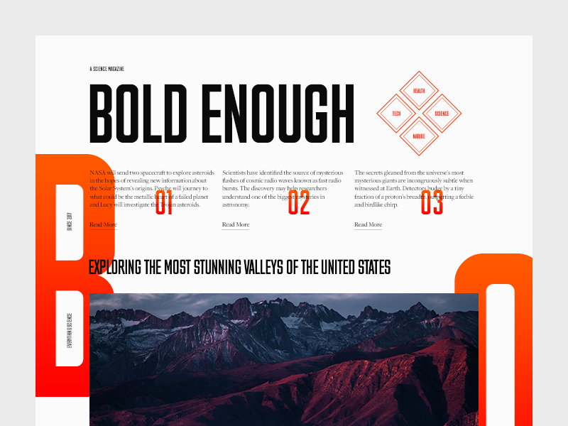 Bold Enough magazine mountains science editorial landscape minimal clean munich typography type