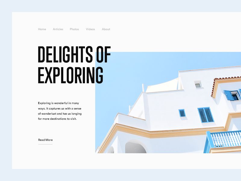 Delights of Exploring clean minimal sky blue house exploring explore typography munich type
