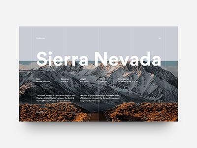 Sierra Nevada nature grid layout editorial typography type california sierra mountains minimal clean munich