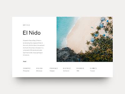 El Nido ocean grid layout editorial typography type philippines beach mountains minimal clean munich