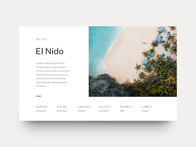 El Nido ocean grid layout editorial typography type philippines beach mountains minimal clean munich