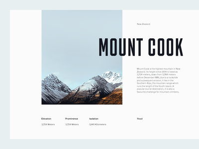 Mount Cook grid layout editorial typography type sky mountains minimal clean munich