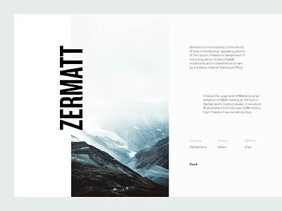 Zermatt mountains switzerland grid layout editorial typography type sky minimal clean munich