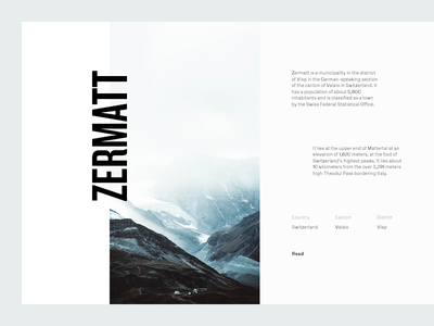 Zermatt mountains switzerland grid layout editorial typography type sky minimal clean munich