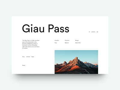 Giau Pass mountains italy grid layout editorial typography type sky minimal clean munich