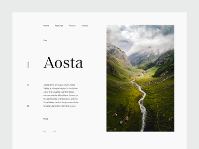 Aosta valley mountains grid layout editorial typography type sky minimal clean munich
