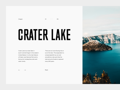 Crater Lake sky crater grid layout editorial typography type lake minimal clean munich