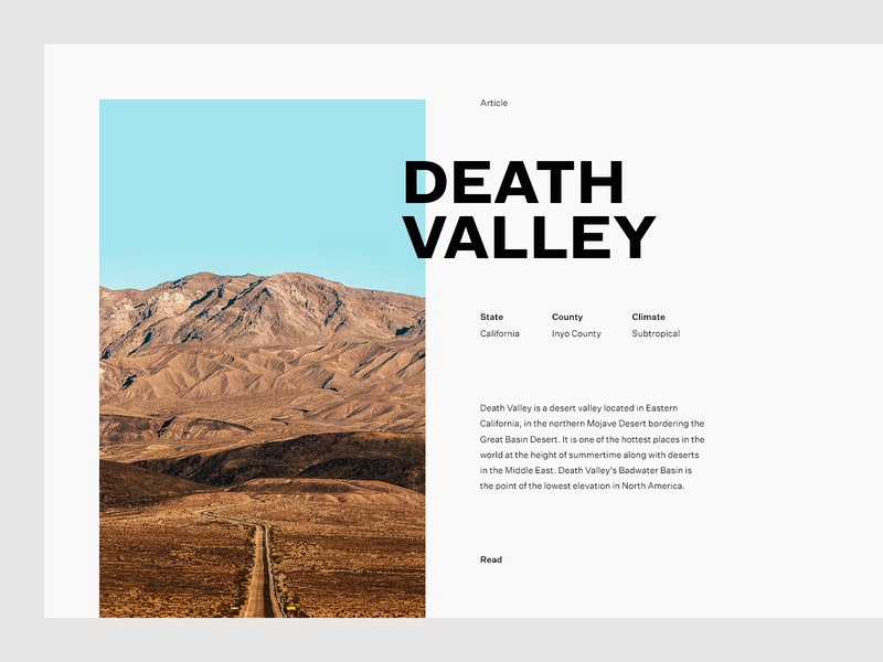Death Valley desert grid layout editorial typography type death valley valley minimal clean munich