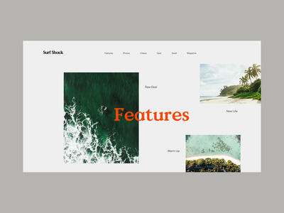 Surf Shack Features ocean sea grid layout editorial typography type surf shack valley minimal clean munich