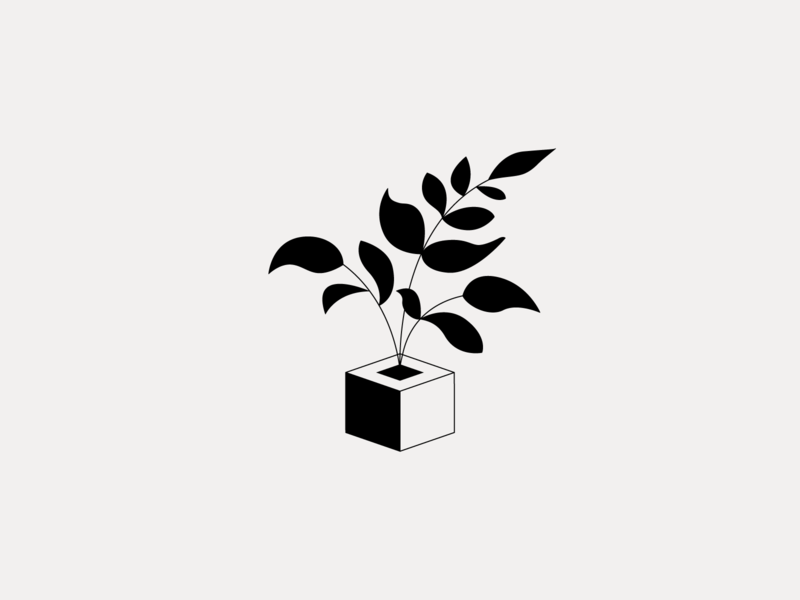 Plant pot leafs illustration plant logo minimal clean munich