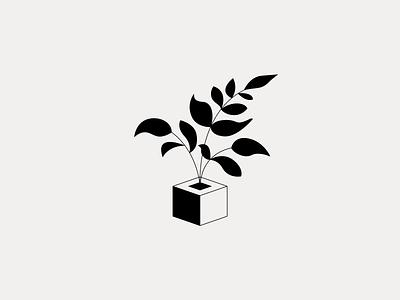 Plant pot leafs illustration plant logo minimal clean munich