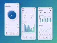 Neumorphism Sleep Tracker App statistics neumorphic skeumorphism skeuomorphic tracker app neumorphism sleep tracker inspiration icon minimal analytics chart gradient clock ux ui design app design app 2020 trends