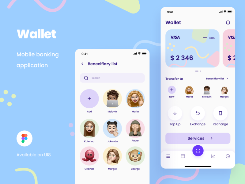 Wallet App bank app financial app wallet app ux ui ui kit money app credit cards payment app banking money transfer money managmant app design ux design ui design
