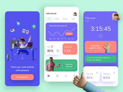 Working time tracker analytics chart illustration statistics mobile app design app app design ui ux