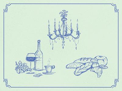 French Icons restaurant wine bakery icon set icon illustration french